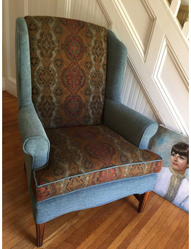Vintage Wing Chair All New Upholstery Gorgeous Rich Teal Chenille Earthy Jacquard Fabric Traditional Boho Cottage Retro Generous Proportion by Etsy