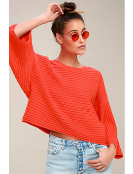 Claudel Coral Red Ribbed Sweater Top by Jack By Bb Dakota