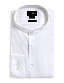 Slim Fit Band Collar Dress Shirt by 1670