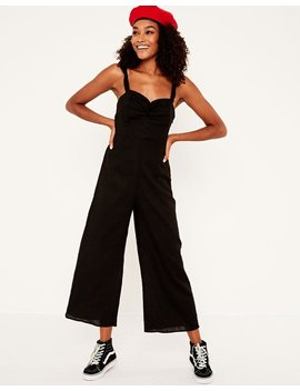 Linen Blend Ruffle Strap Jumpsuit by Glassons