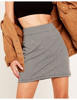 High Waist Houndstooth Skirt by Glassons
