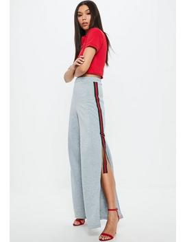 Gray Side Stripe Split Leg Joggers by Missguided