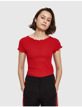 Falla Knit Top In Red by Need Supply Co.