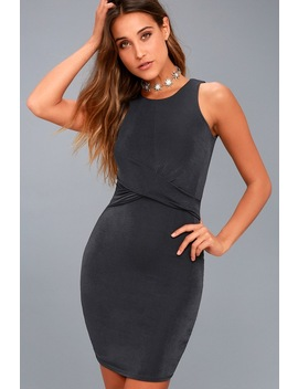 More Than A Dream Charcoal Grey Sleeveless Bodycon Dress by Lulus