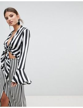 Missguided Tie Front Striped Top by Missguided