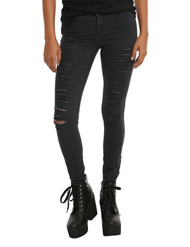 Faded Black Destructed Skinny Jeans by Hot Topic