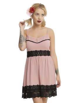 Blush & Black Lace Trim Baby Doll Dress by Hot Topic