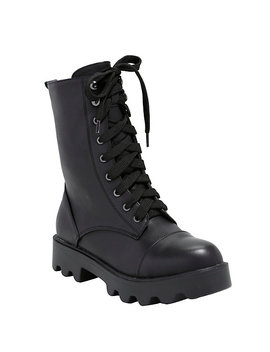 Black Lace Up Thick Sole Combat Boots by Hot Topic