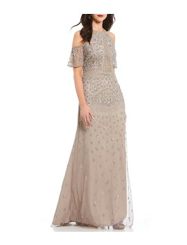 Adrianna Papell Cold Shoulder Beaded Gown by Adrianna Papell