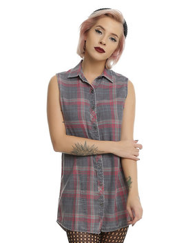 Red & Grey Sleeveless Plaid Girls Tunic Woven Button Up by Hot Topic