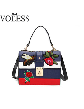 Luxury Handbags Women Bags Designer Embroidery Pu Leather Shoulder Bag Female Tote Bag Crossbody Bags For Women Bolsos Feminina by Voless Female Bag Store