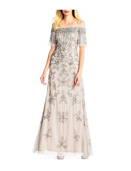 Adrianna Papell Off The Shoulder Fringe Beaded Gown by Adrianna Papell