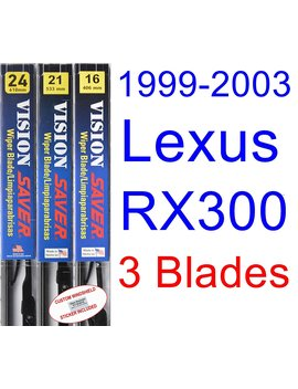 1999 2003 Lexus Rx300 Replacement Wiper Blade Set/Kit (Set Of 3 Blades) (Saver Automotive Products Vision Saver) (2000,2001,2002) by Saver Automotive Products
