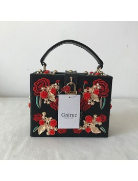 High Quality Pu Embroidery Diamond Red Rose Flower Beaded Fashion Women Shoulder Handbags Crossbody Bags Evening Bags Box Clutch by Gnirue Store