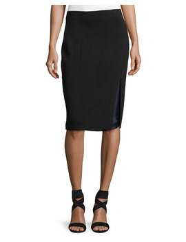 Alyssa Double Layer Knit Pencil Skirt by Neiman Marcus
