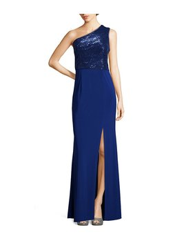 Adrianna Papell Sequin One Shoulder Modified Mermaid Gown by Adrianna Papell