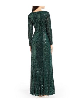 Sequin V Neck Gown by Cachet