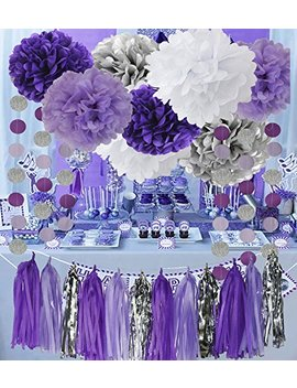 Bridal Shower Decorations Purple White Silver T Issue Pom Pom Amaranth Purple Silver Circle Paper Garland For Baby Shower Decorations/Birthday Decorations by Qian's Party