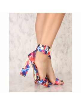 Liliana Ilyse 57 Multi Watercolor  Print Wide Ankle Strap Buckle Chunky Heel by Liliana
