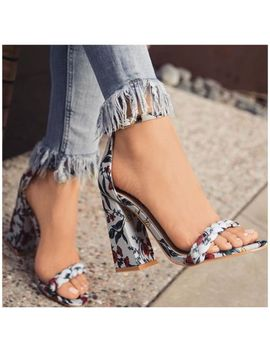 So Me Alize Light Blue Floral Print Open Toe Ankle Strap Chunky Flare Heel by So Me