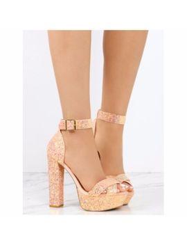 Qupid Beat 76 Pink Gold Peach Unicorn Iridescent Glitter Peep Toe Platform Heel by Qupid