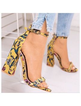 So Me Alize Yellow Floral Print Open Toe Ankle Strap Chunky Flare Heel by So Me