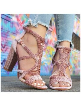 Promise Shoe Republic La Kurry Dusty Pink Mauve Peep Toe Cage Chunky Block Heel by Shoe Republic
