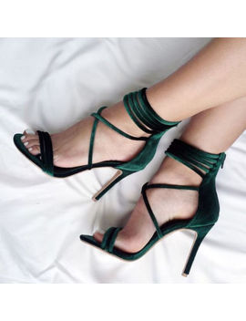 Sexy High Heels Sandals Green Velvet Women Gladiator Sandals Party Shoes by Unbranded