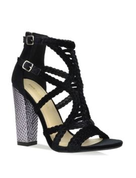 Promise Shoe Republic La Kurry Black Velvet Peep Toe Cage Chunky Block Heel by Shoe Republic