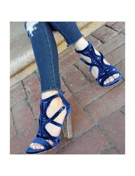 Promise Shoe Republic La Kurry Navy Blue Peep Toe Cage Chunky Block Heel by Shoe Republic