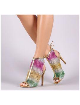 Liliana Gardena 1 Gold Sheer Mesh Multi Colored Rhinestone Peep Toe Ankle Boot by Liliana
