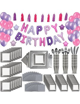 24 Guest Silver & Pink Fancy Birthday Party Supplies & Decorations. 2 Size Square Plates, Cups, Napkins, Cutlery, Pink & Purple Balloon Birthday Banner, Tassel Garland Decoration, Latex Balloons by Hero Fiber