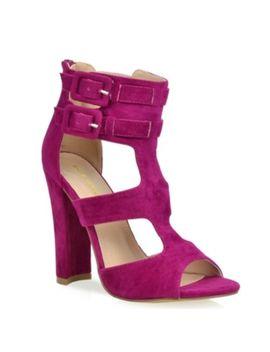 Promise Shoe Republic La Koat Fuchsia Magenta Cage Peep Toe Chunky Block Heel by Shoe Republic