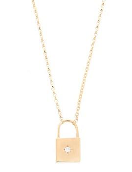 14k Gold Padlock Diamond Necklace by Zoe Chicco
