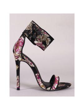Liliana Tisha 58 Black Satin Floral Print Brocade Ankle Strap Stiletto Heel by Liliana