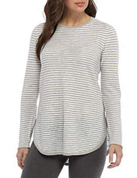 Round Neck Striped Long Sleeve Sweater by Eileen Fisher