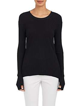 Rib Knit Tie Back Sweater by Helmut Lang