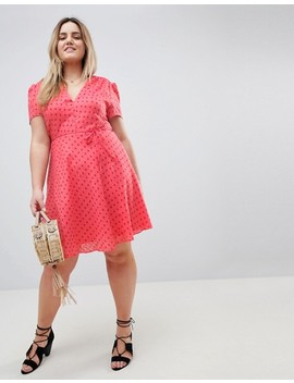 Glamorous Curve Mini Tea Dress With Tie Waist In Ditsy Rose by Glamorous