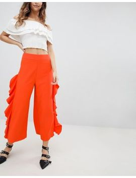 Miss Selfridge Ruffle Wide Leg Crop Trousers by Miss Selfridge