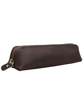 Iblue Vintage Leather Zipper Pen Pencil Pouch Case Holder Bag #P 1 (Brown) by Iblue