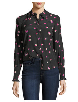 Floriana Button Front Long Sleeve Silk Blouse by Rebecca Taylor