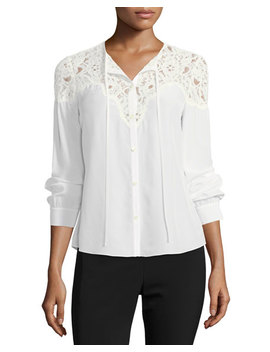 Button Front Silk Top With Lace Trim by Rebecca Taylor