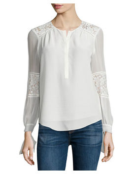 Sarah Silk Lace Panel Top by Rebecca Taylor