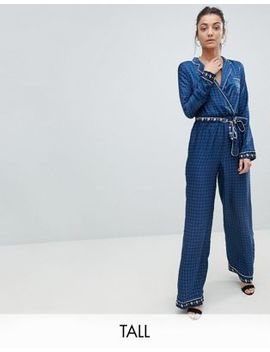 Missguided Tall Contrast Print Pajama Jumpsuit by Missguided Tall