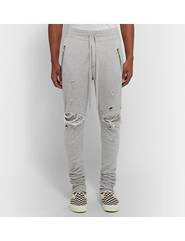 Mx1 Slim Fit Tapered Leather Panelled Distressed Cotton Jersey Sweatpants by Amiri