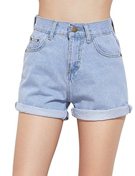 Sweaty Rocks Women's Retro High Waisted Rolled Denim Jean Shorts With Pockets by Sweaty Rocks
