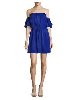 Christy Off The Shoulder Stretch Silk Dress, Cobalt by Milly