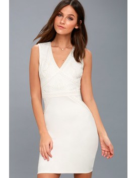 Malerie White Embroidered Bodycon Dress by Lulus