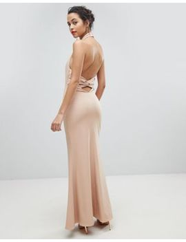 Jarlo High Neck Ruched Open Back Maxi Dress by Jarlo