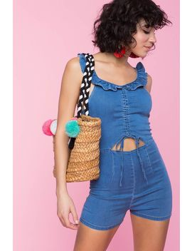 Daisy Ruffle Denim Romper by A'gaci